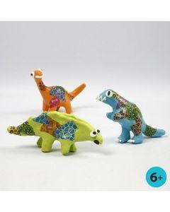 Painted Papier-Mâché Dinosaurs decorated with Decoupage Paper