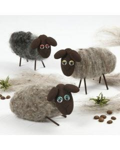 Sheep made from Polystyrene with Needle felted Wool