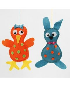A Chick and an Easter Bunny made from sewn and glued Felt