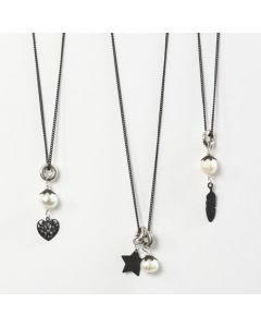 A black Necklace with a Freshwater Pearl & a Metal Charm Pendant