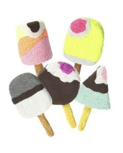 Papier-Mâché Ice Lollies covered with Foam Clay and Silk Clay