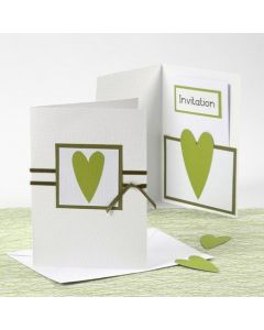 A white and green Happy Moments Invitation and Menu Card