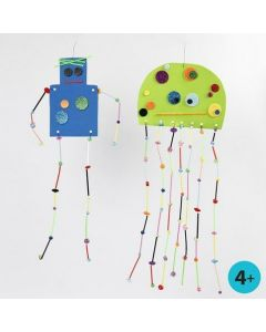 Foam Rubber Shapes with Limbs from Construction Straws & Beads