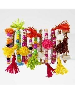 Rocaille Seed Bead Bracelets with Tassels made from Yarn