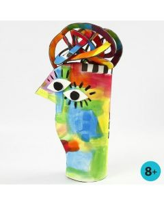 A painted Sculpture made from Foam Roll Mat Material