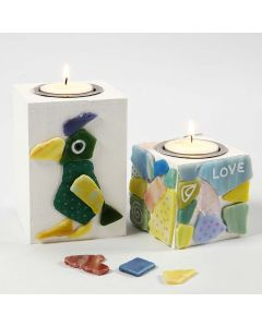Wooden Candle Holders with Glass Mosaic