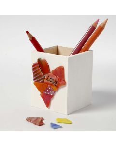A wooden Pencil Holder with Glass Mosaic