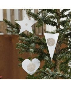 Christmas Decorations from punched-out Vellum Paper with Stickers