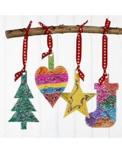 Card Christmas Hanging Decorations with Markers & Sequins