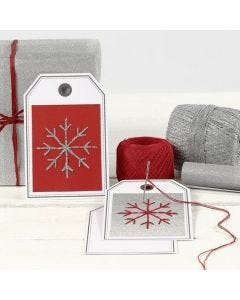 A Post Card as a Gift Tag with an embroidered Snowflake