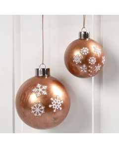 Glass Baubles with Copper Paint inside & Stickers on the outside