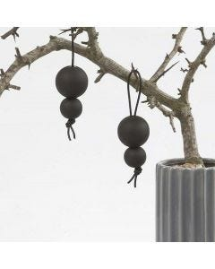 Black Blackboard Paint on wooden Beads on a Leather Cord