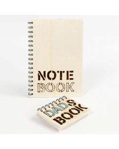 A Note Book with a wooden Cover, decorated with branded Words