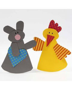 An Easter Bunny and an Easter Chick from plain and patterned Card