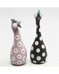 Hens made from Polystyrene Shapes and Florist Wire covered with  Papier-mâché Pulp