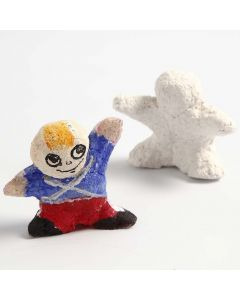 A small Figure with a painted Uniform made from  Papier-mâché Pulp