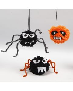 Creepy-Crawlies for Halloween made from Pom-Poms, Pipe Cleaners and Felt