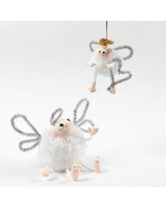A Pom-Pom Angel with Silk Clay and Pipe Cleaners