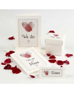 A Wedding invitation & Table Decorations with Fingerprint Hearts