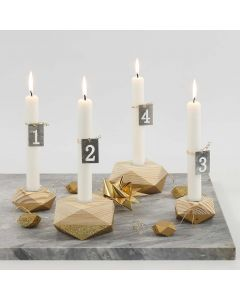 Four wooden Candle Holders for Advent partially painted in Gold