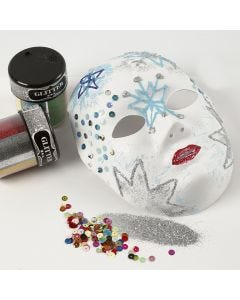 A Face Mask with Glitter on Designs made with transparent Glue