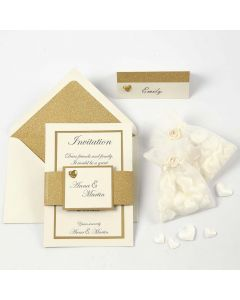 An off-white and gold Invitation and Place Card