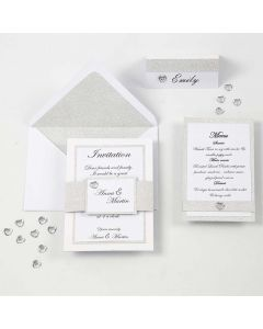A white and silver Invitation, Menu Card and Place Card