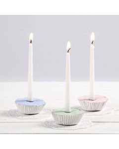 Muffin-shaped Candlesticks from Plaster Compound