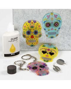 Key Fobs, Magnets and Brooches from decorated, pre-printed Shrink Plastic Designs
