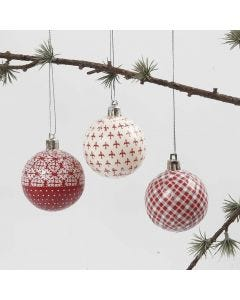 A Christmas Bauble with red and white Decoupage