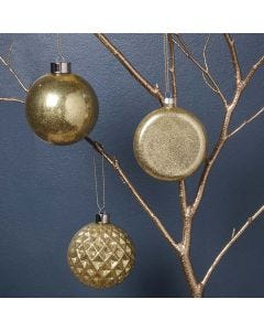 Glass Baubles with gold Glitter inside