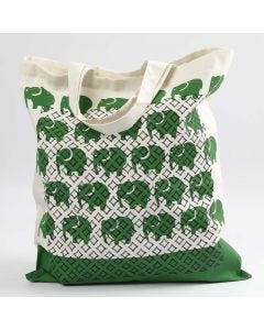 A Shopping Bag with Prints and Stencil Patterns
