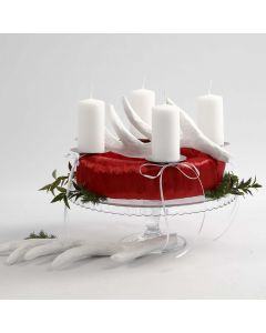 A red and white Advent Wreath