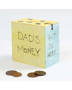A wooden Money Box decorated with branded Designs and Paint