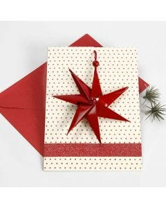 A Christmas Card with a  Seven-Pointed Star in a Piece of Cotton Cord