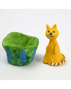 A Polystyrene Cat covered with Papier-mâché Pulp