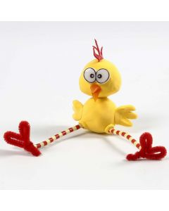 A Silk Clay Chick with long Legs made from Pipe Cleaners and Nabbi Beads