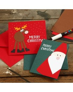 Greeting Cards with Christmas Designs made from Card