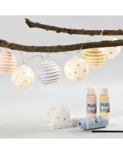 Fairy Lights with painted Rice Paper Lamps