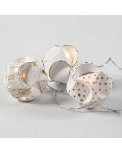 LED lights with self-assembly Baubles decorated with gold Glitter Glue