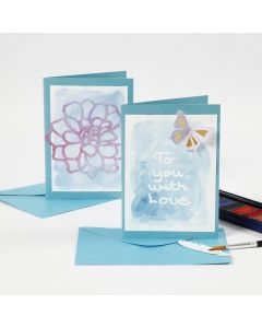 A Greeting Card and a Place Card with Drawing Gum Text painted over with Watercolours