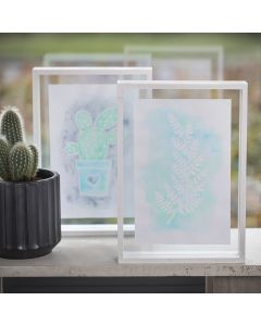 A Picture with Drawing Gum Designs and Aqua Paint in a double-sided Frame