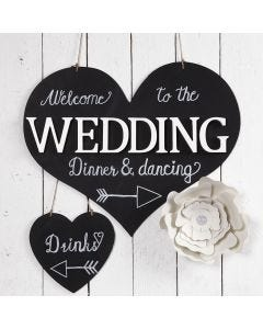 A Welcome Sign with Blackboard Paint for the Party
