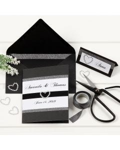 A black Wedding Card with Design Tape Borders