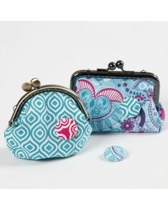 A Purse decorated with a fabric-covered Button