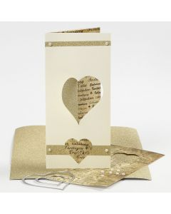 A tri-fold Card with Half a punched- out Heart using the Die-Cutting Machine