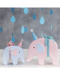 An Elephant decorated with Craft Paint and a small Party Hat
