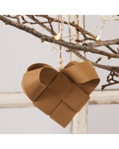 A woven Faux Leather Paper Christmas Heart Basket