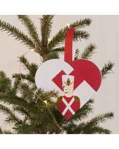 A Woven Christmas Heart Basket with a Nutcracker Design