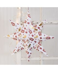 A large Star folded from Design Paper with a Nutcracker Motif